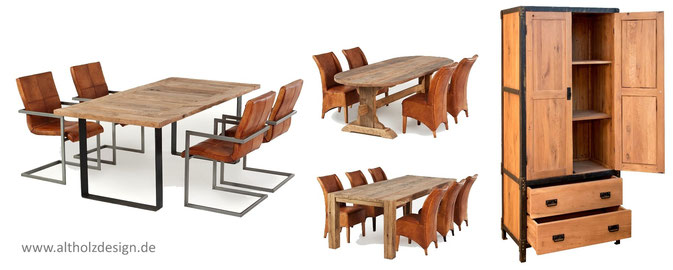 Rustikale Esszimmertische, Couchtische, Schränke, Sideboards, Sitzbänke und Möbel aus altem Holz und Altholz Eiche.