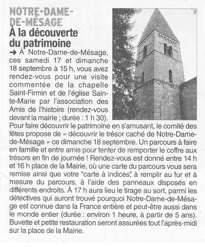 Dauphiné Libéré, Isère Sud, Notre Dame de Mésage, édition du 16 septembre 2016