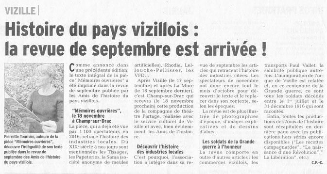 Dauphiné Libéré, Isère Sud, Vizille édition du 1 octobre 2016. Article: Claudie Picot Chambe