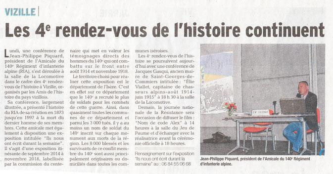 Dauphiné Libéré, Isère Sud, Vizille édition du 26 mai 2016.