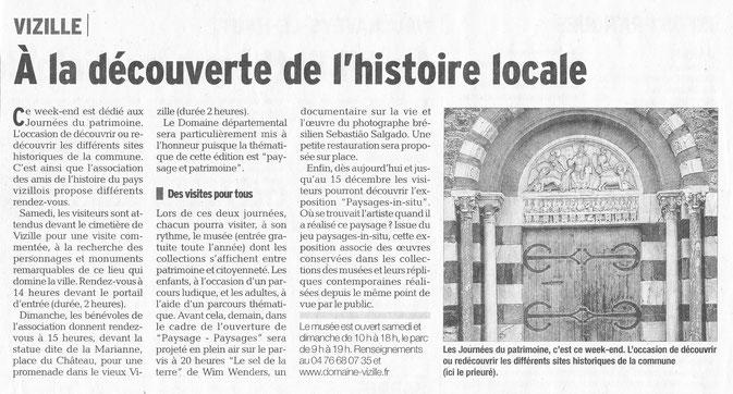 Dauphiné Libéré, Isère Sud, Vizille, édition du 15 septembre 2016.
