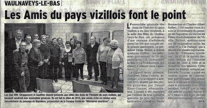 Dauphiné Libéré édition du 15 février 2016 - Article et photo Claudie Picot Chambe