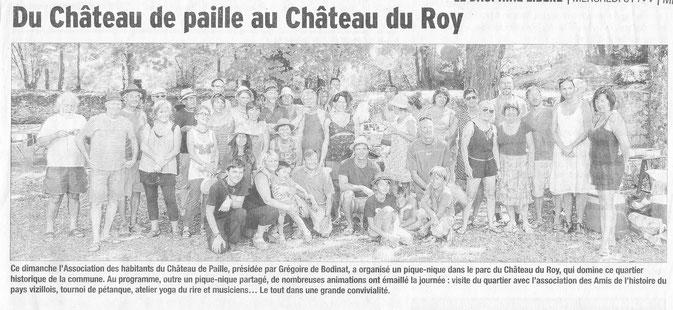 Dauphiné Libéré, Isère Sud, Vizille édition du 31 août 2016.