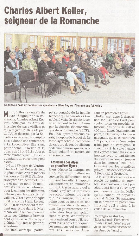 Dauphiné Libéré, Isère Sud, Vizille édition du 15 octobre 2016.