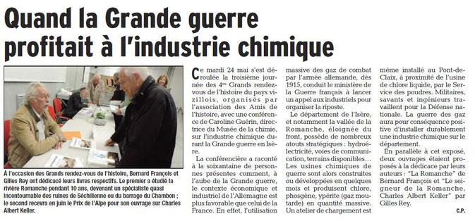 Dauphiné Libéré, Isère Sud, Vizille édition du 27 mai 2016. Article et photo: Chrystelle Pernet