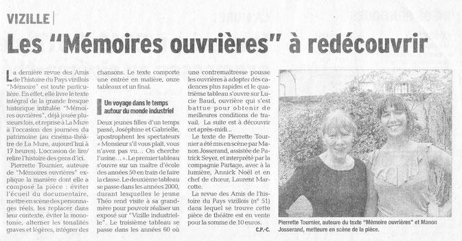 Dauphiné Libéré, Isère Sud, Vizille édition du 18 septembre 2016. Article et photo: Claudie Picot Chambe