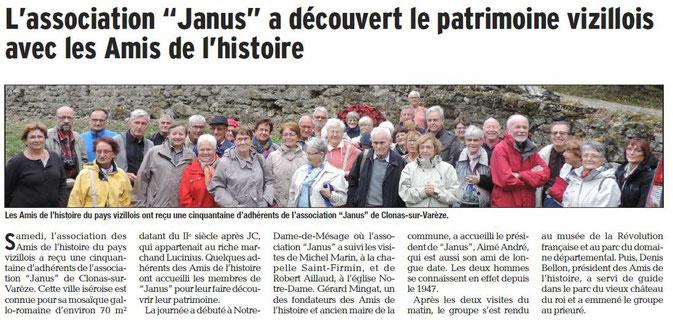 Dauphiné Libéré, Isère Sud, Vizille édition du 04 octobre 2016.