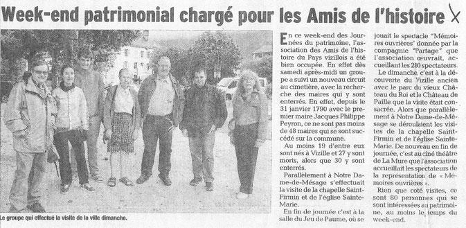Dauphiné Libéré, Isère Sud, Vizille édition du 20 septembre 2016.