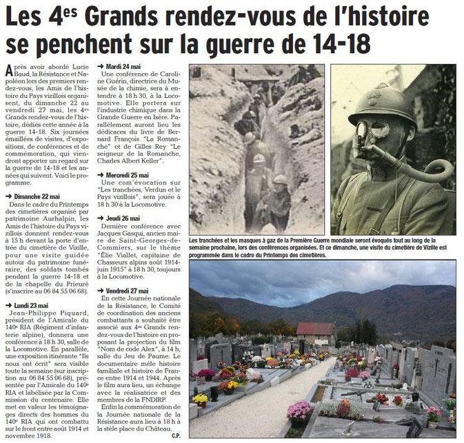 Dauphiné Libéré, Isère Sud, Vizille édition du 20 mai 2016. Article et photo Chrystelle Pernet