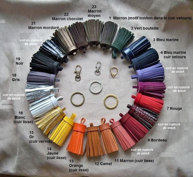 Pompons cuir de 6 cm de hauteur, anneau de finition au choix : 7.00 € (à utiliser en bijou de sac ou porte-clefs).