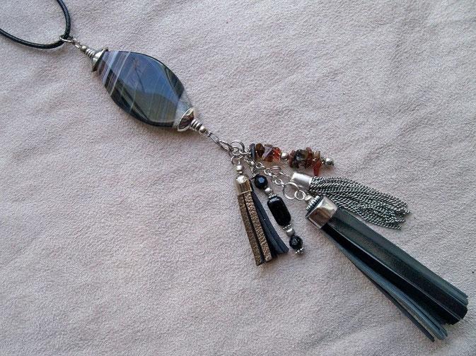 Pendentif pompon noir et perle pierre (vendu avec un long sautoir façon cuir noir) : 13.00 €