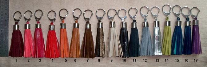 """Bijou de sac ou porte-clefs  """"Bague alu"""" Dimension 9 cm hors mousqueton - 7.00 €  (ces pompons peuvent être réalisés à vos dimensions) (à utiliser en bijou de sac ou porte-clefs)"""