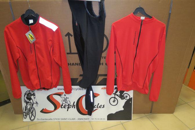 veste hiver NORET premium windtex 65€00 , collant hiver 59.00€ SB ,65.00€ avec bretelle , maillot ML premium 39€00
