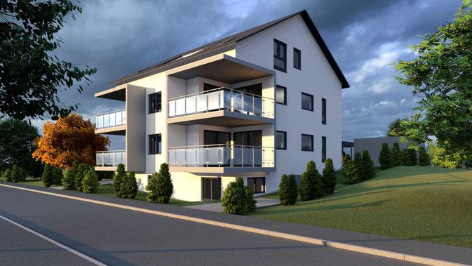 Animation eines projektierten Mehrfamilienhauses in Murr