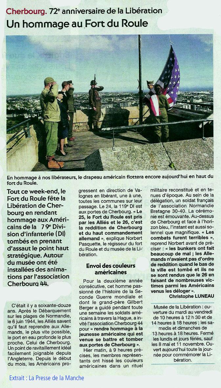 Presse de la Manche, Musée de la Libération de Cherbourg, Association Cherbourg 44, commémoration du 27 juin 1944 et de la libération de la ville, et du Nord-Cotentin.