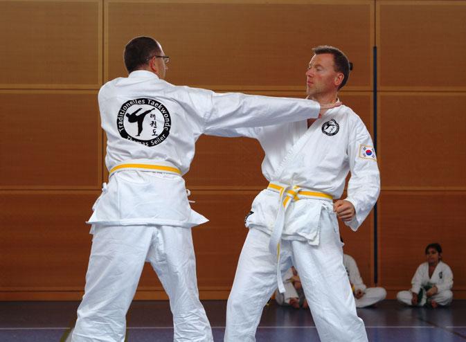 Erwachsene beim Einschrittkampf Ilbo Taeryon Selbstverteidigung in der Taekwondo - Sportschule Adelzhausen