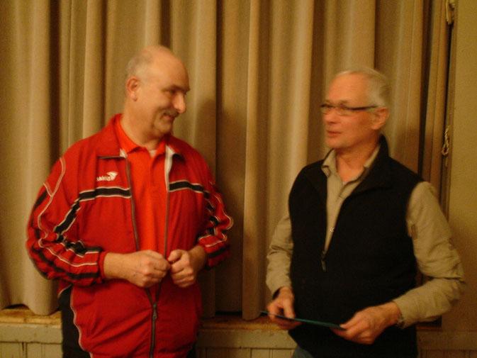 Ruedi Weinzerl bedankt sich bei Peter Wittmer.