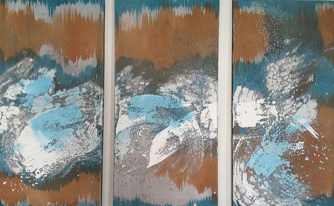 """""""Wintersturm 2015"""", Dreiteiler 50 x 100. kleinere Mängel: Leinwände teilweise etwas ungerade."""