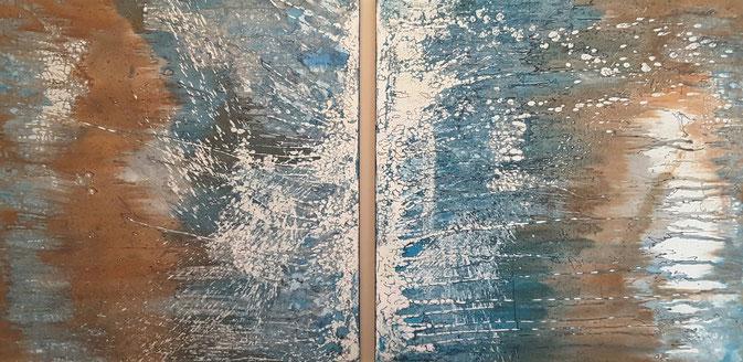 """Blaue Explosion"", Zweiteiler 100 x 100 cm/Leinwand. Januar/Februar 2016."