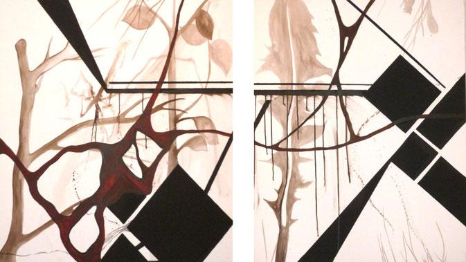 """""""Draußen"""" - Acryl auf Leinwand - 80 * 100 cm und 100 * 100 cm - Juni 2010"""