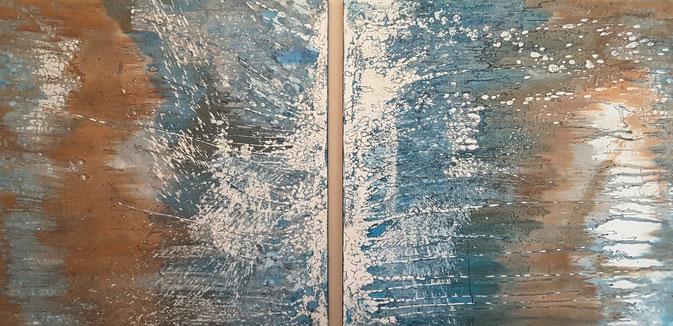 """""""Blaue Explosion"""", zweimal 100 x 100 cm."""