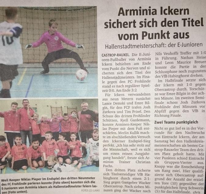 10.01.2016 Ein tolles Team !!!! (Artikel: Ruhrnachrichten/WAZ)