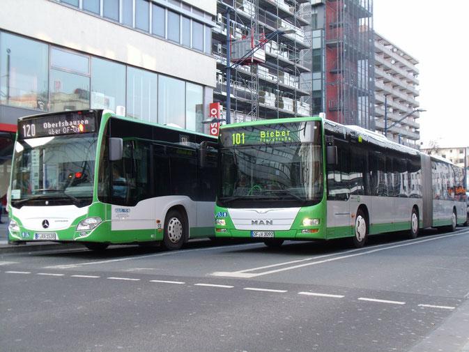 Frabus #538 (F-RA 1538), MB O530 BlueTec6; OVB #92 (OF-V 3092), MAN A23 Lion'sCity G Euro6