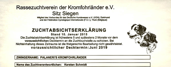 Briefkopf der Zuchtabsichtserklärung für Palaneri's A-Wurf