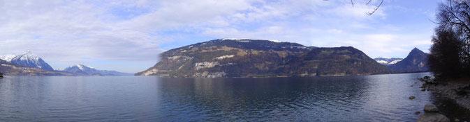 Panorama Thunersee Lake Thun flyfishing, Seatrout, Seeforellen, Switerzland, Schweiz