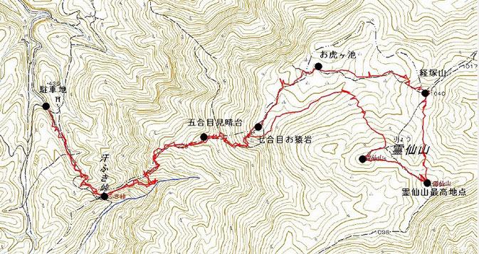 霊仙山ルート図