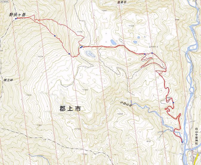 野伏ヶ岳ルート図