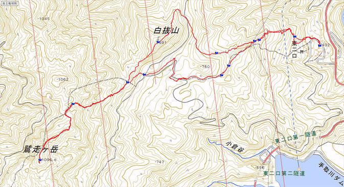 鷲走ヶ岳ルート図