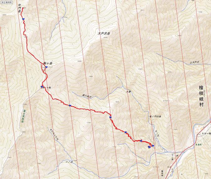 会津駒ヶ岳ルート図