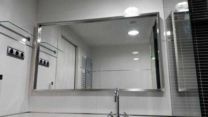 Marco para espejo de acero inoxidable para baño