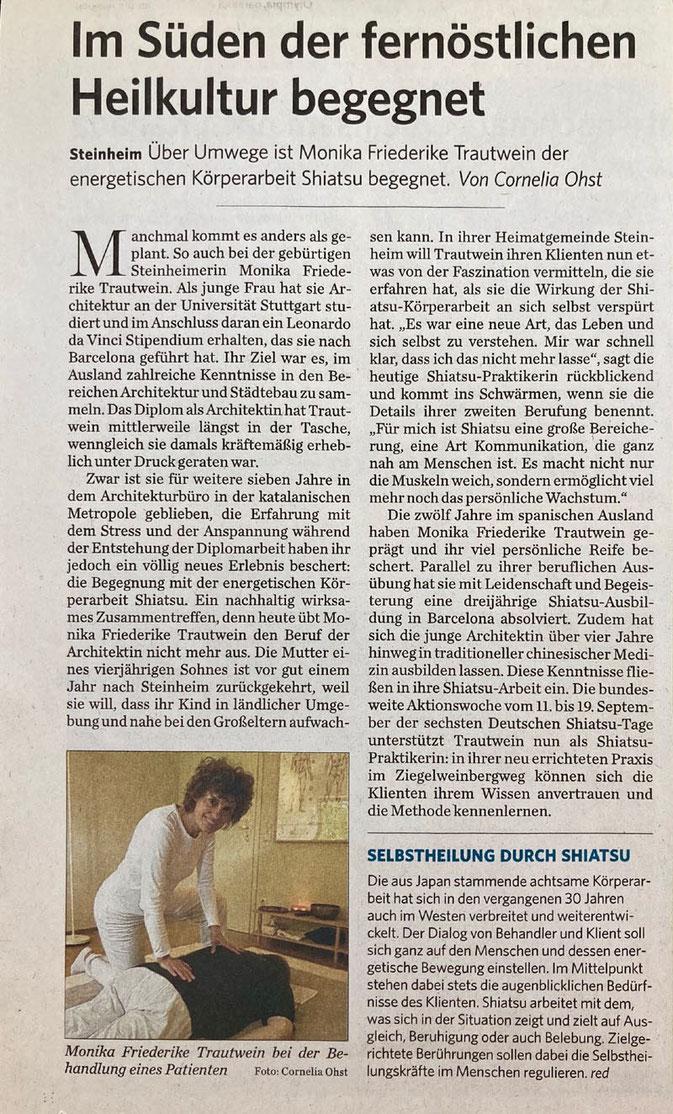 """Zeitungsartikel der Marbacher Zeitung vom Sept. 2010: """"Im Süden der fernöstlichen Heilkultur begegnet"""" von Cornelia Ohst"""