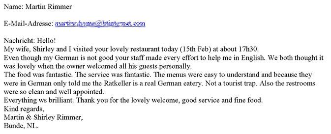 per E-Mail, Februar 2013