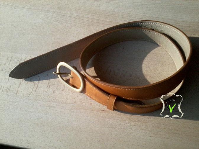 ceinture cuir vachette couleur tabac doublé vachette largeur 30 mm