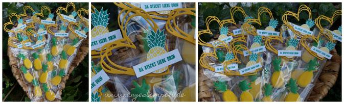 Butterplätzchen in Ananasform mit Zuckerguss = Sommerplätzchen - Patricia Stich 2016 SU