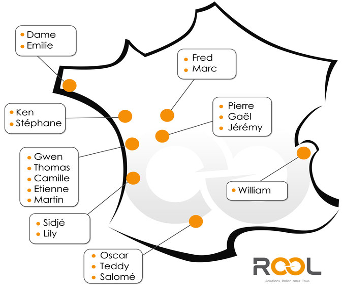 Rool - Répartition des moniteurs roller