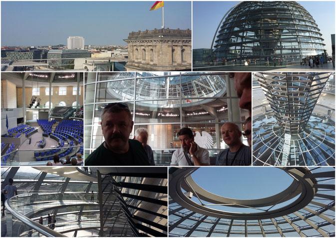 Reichtagsgebäude mit Plenarsaal und der Glaskuppel mit Fussgängerrampe.