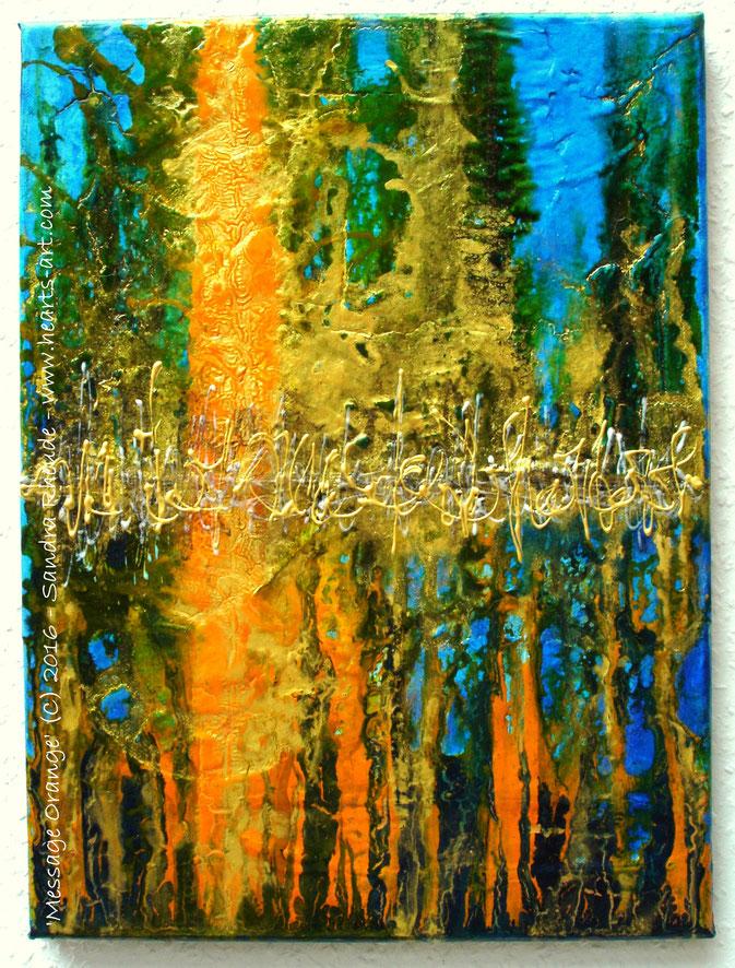 'Message Orange' - 2016/33 - Acryl/MixedMedia auf Leinwand - 30 x 40 cm - verkauft (Deutschland)