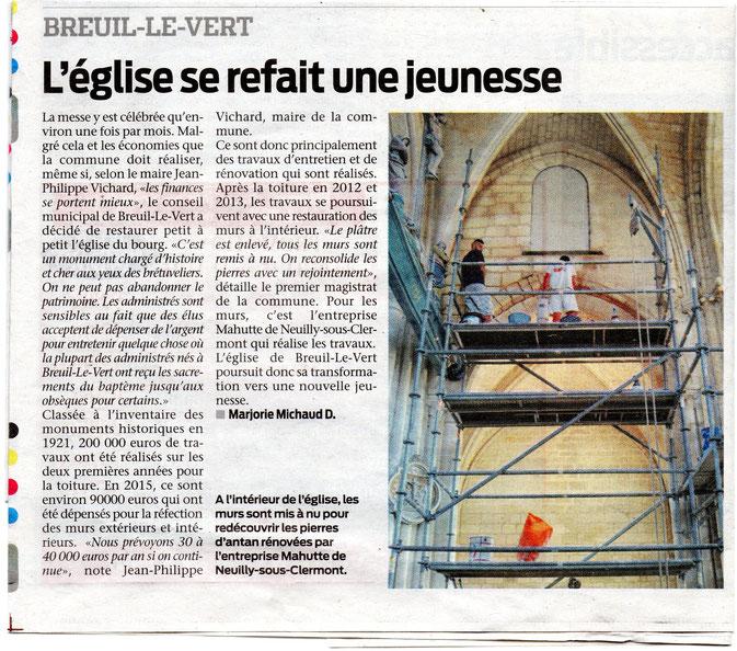04 novembre 2015 - L'église Saint Martin de Breuil le Vert se refait une jeunesse - Le Bonhomme Picard.