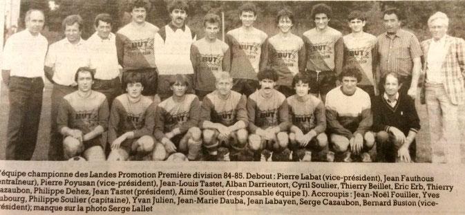 L'équipe championne des Landes Promotion Première division de la saison 1984-1985.