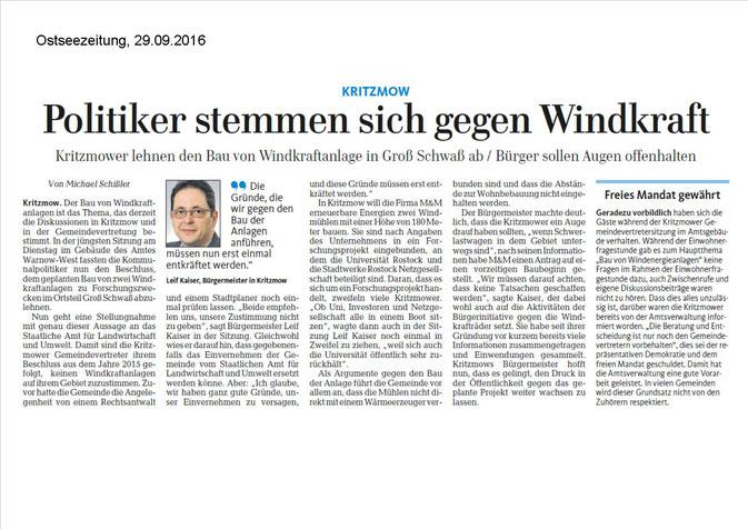 29.09.2016 Ostseezeitung: Politiker stemmen sich gegen Windkraft