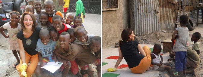 Les enfants de Moungali acompagnent Isabel Colomer, c'est parti pour la 1ère MARELLE en couleur