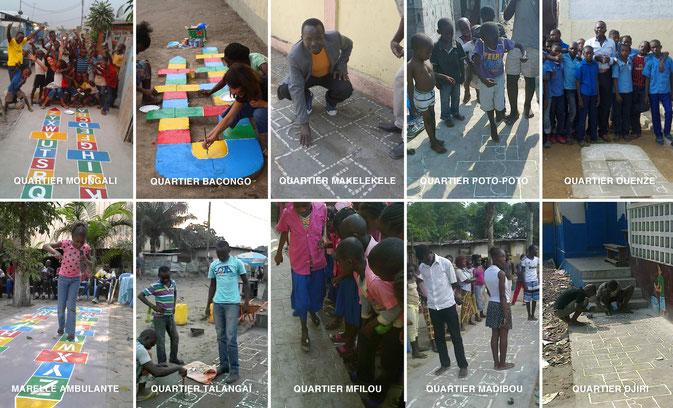 Les cadeaux du 1er Festival Alphabet Africa 2014 : 10 MARELLES dans les 9 communes de Brazza