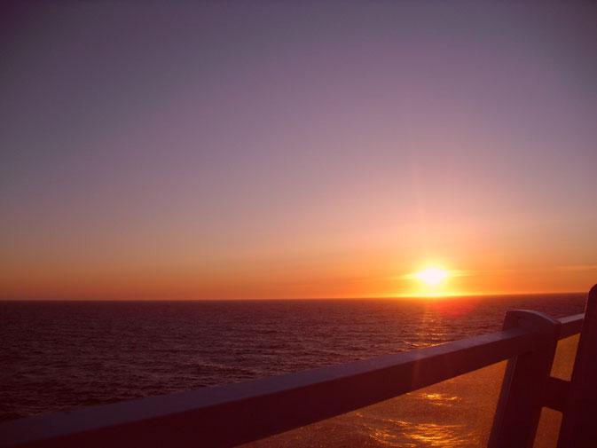 Sonnenuntergang auf dem Weg nach Bergen