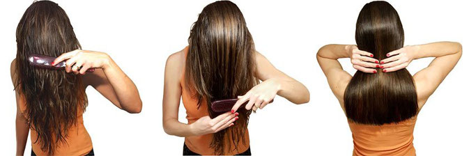 Haare entwirren Frau verwirrte Haare, lange glatte Haare, nasse Haare mit Hercules Sägemann Scalp Brush Zauberbürste