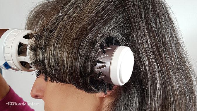 rotierende warmluftbürste für kurze Haare