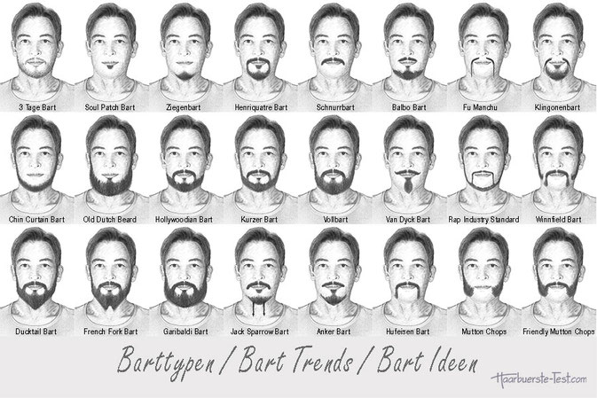 Moderne, stylische, schöne und gepflegte Barttypen im Überblick! Barttypen und Bartformen: Die besten Bart Frisuren im Überblick